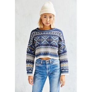 UO, BDG Anna Blue Cropped Printed Sweater SZ XS